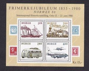 Norway  #765  MNH  1980     sheet  Norwex '80  plane   ship  bus  train
