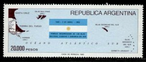 Argentina 1411 MNH Map, Flag, Recovery of the Malvinas