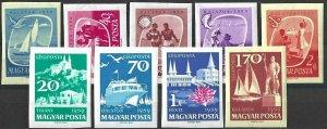 1959 Hungary Ships, Birds, Lake, Fishing compl set imperforated VFMNH! RARE!