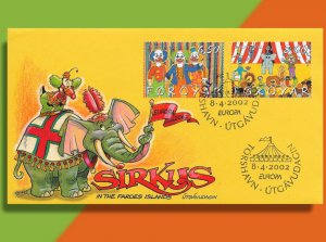 Puffin Clowns Around atop Elephant - 2002 Handcolored Faroes Europa Circus FDC
