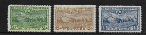 PHILIPPINES, 522-524, GUM DAMAGE, AIR MAIL