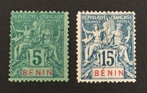 Benin 1894 #36,38, Unused/MH, CV $22.50
