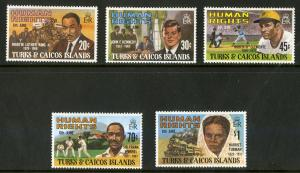 TURKS & CAICOS 457-461 MH SCV $3.50 BIN $1.50 HUMAN RIGHTS