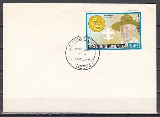 Burkina Faso, Scott cat. 322. Scout Baden Powell, IMPERF. First day cover.