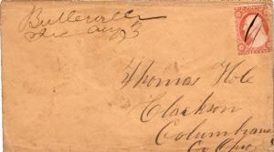 United States Ohio Butlerville c1860 ms  1833-1905 3c Washington 1857 Issue.