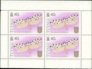 Tuvalu #138-141, Complete Set(4), Blocks of 4, 1980, Butterflies, Never Hinged