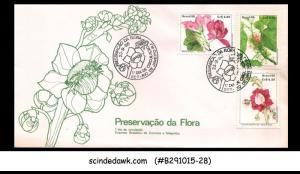 BRAZIL - 1986 FLOWERS - 3V - FDC