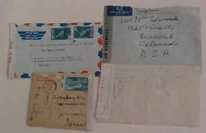 ISRAEL 1950 CENOSR #C3 x2 TEL AVIV plus 1952 WAR CENSOR 28 ARMY PO #444