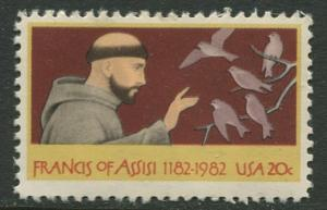 USA - Scott 2023 - Francis of Assisi- 1982 - MNH - Single 20c Stamp