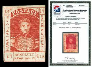 Hawaii Scott 6 1853 13c King Kamehameha III Issue Mint LH Cat $875 with PSE Cert