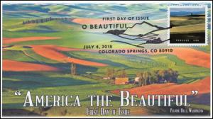 18-195, 2018, O' Beautiful, First Day Cover, Pictorial Postmark, Palouse Hills W