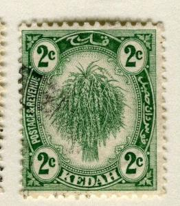 MALAYA KEDAH;  1919 early Rice sheaf issue fine used 2c. value
