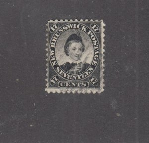 NEW BRUNSWICK # 11 VF-USED 17cts 1860 PRINCE OF WALES /BLACK/CENTS ISSUE CV $80