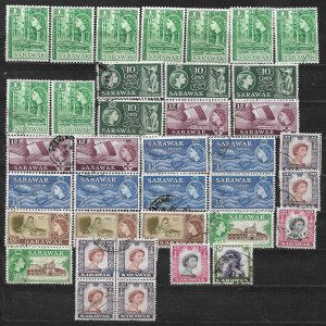 COLLECTION LOT OF 37 SARAWAK 1955+ STAMPS CLEARANCE