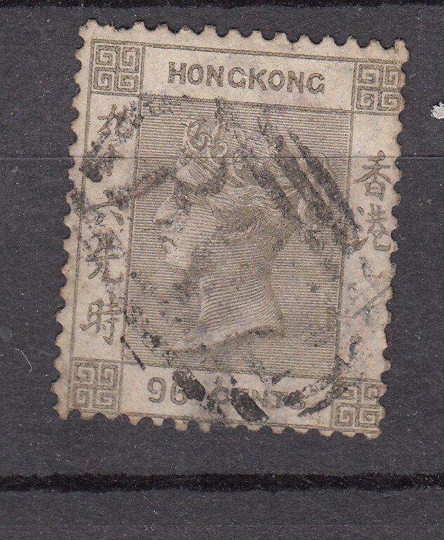 J28252 1863-80 hong kong used #24 queen wmk 1 short perf top $62.50 scv
