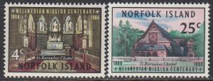 Norfolk Is. 97-8 MNH - St. Barnabas Chapel