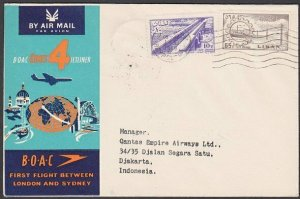 LEBANON 1959 BOAC first flight cover to Djakarta Indonesia..................N430