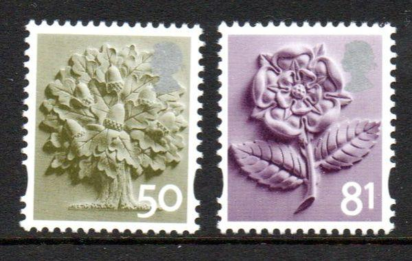 Great Britain England Sc 17-18 2008 50p tree 81p rose stamp set mint NH