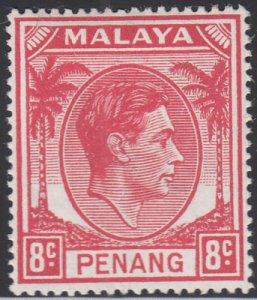 Malaya Penang 1949-52 MH Sc #9 8c George VI