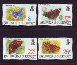 Guernsey Sc 218-21 1981 butterflies stamps mint NH