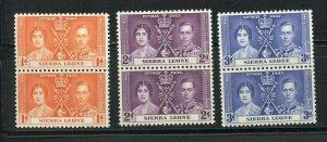 SIERRA LEONE CORONATION OF GEORGE VI 1937 SC# 170-172 MINT NH PAIRS AS SHOWN