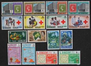 St. Vincent #220-223, 272-275, 299-302 & 312-315, MNH OG, 4 Complete Sets