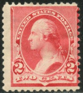 US Sc#220 1890 2c Carmine Average Centered OG Mint Hinged with Remainder