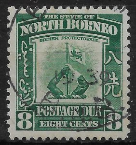 NORTH BORNEO SGD88 1939 8c GREEN POSTAGE DUE USED