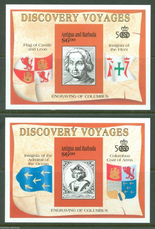 ANTIGUA SCOTT#1419/20 500th ANN CHRISTOPHER COLUMBUS  IMPERF  S/S's  MINT NH