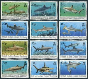 BIOT 151-162,MNH.Michel 158-169. Sharks 1994.Nurse,Silver tip,Black tip,Tiger,