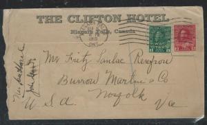 CANADA (PP1806B) 1915 KGV 2C RED+1C WAR TAX FANCY CLIFTON HOTEL NIAGARA FALLS