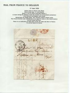 FRANCE Early LETTER/COVER 1830 fine used item Arras - Hornu Belgium