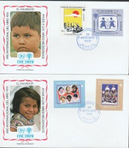 EL SALVADOR IYC INTERNATIONAL YEAR OF CHILD 2 FDCs 1979 R2021486