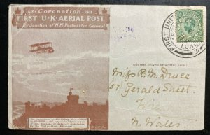 1911 London England First Aerial Post King George V Coronation PC Cover To Wales
