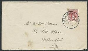 COOK ISLANDS 1912 1d on cover Rarotonga to Wellington NZ................38910