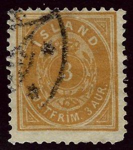 Iceland SC#15 Facit#8b Yellow Orange Used F-VF SCV$350....Worth a Close Look!!