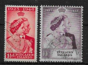 PITCAIRN ISLANDS SG11/2 1949 SILVER WEDDING SET USED
