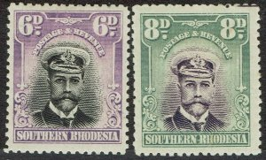SOUTHERN RHODESIA 1924 KGV ADMIRAL 6D AND 8D