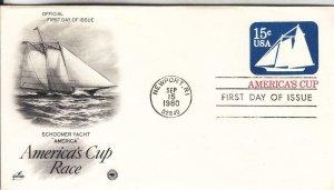1980, America's Cup Embossed Envelope, Artcraft/PCS, FDC (E8946)