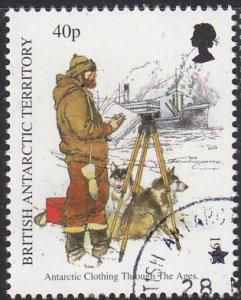 British Antarctic Territory 1998 used Sc #261 40p Man with tripod, ship Antar...