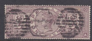 GB262) Great Britain 1884 £1 Brown- Lilac SG 185 lettered A O – O A