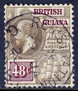 BRITISH GUIANA — SCOTT 185 (SG 266) — 1914 48¢ KGV CROWN CA — USED — SCV $21.00