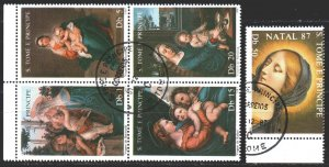 Sao Tome and Principe. 1987. 1021-24. Madonna in paintings, religion. USED.