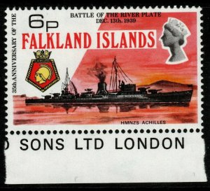 FALKLAND ISLANDS SG308w 1974 6p BATTLE RIVER PLATE WMK CROWN TO RIGHT MTD MINT