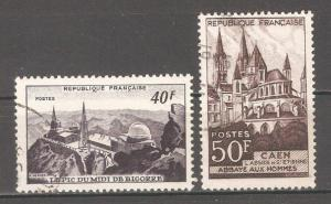 France 1951,Architecture,Observatory,Abbaye Hommes,Caen,Sc 673-74,VF USED (F-5)