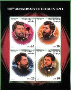 A2126 - MALDIVES, ERROR: MISPERF, M/S - 2018, Georges Bizet, Music, Composer