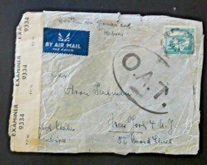 1944 Tel Aviv Palestine To New York NY Airmail Censorship Hebrew & German Cover