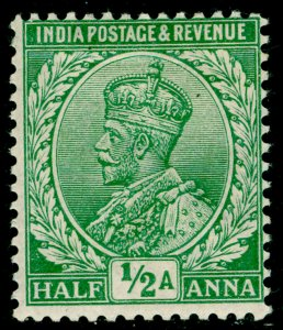 INDIA SG155, ½a light green, M MINT.