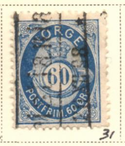 Norway Sc 31 1878 60 ore dark blue Post Horn stamp used