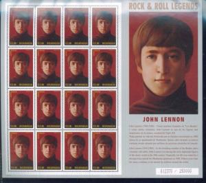 JOHN LENNON Rock & Roll Legends Commemorative Sheet #2123 MNH - Ncaragua E24